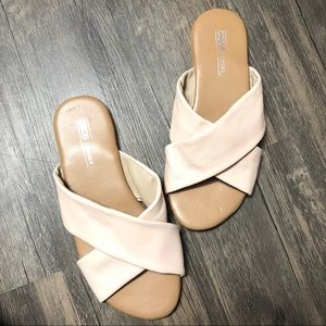 ASOS cross leather slip on slides